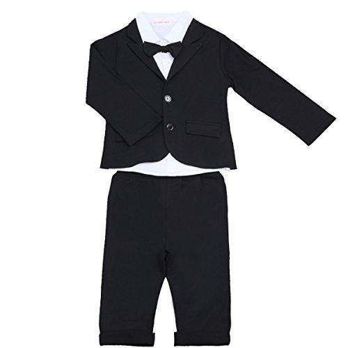 [Hemd+Jacke+Hose] Freebily Baby Junge Anzug langram 3tlg. Bekleidungsset Smokings Gentleman Outfits Kleinkind Festanzug für 6 Monate - 5 Jahre Schwarz & Weiß 98-104/3-4 Jahre