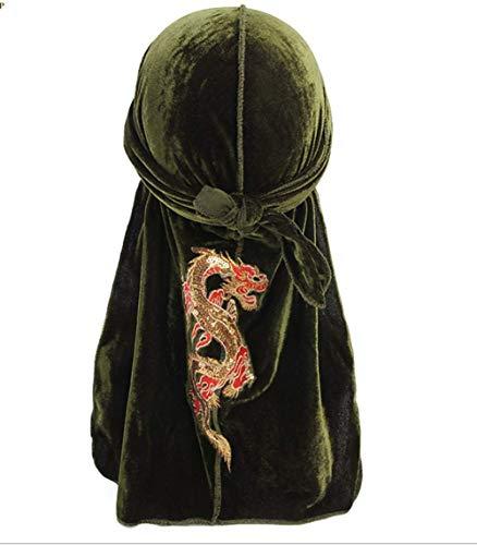 Armee Bandana (Herren Dehnbar Luxus Samt Langer Schwanz Drachen Durag Hip Hop Bandana Kopftuch Silky Soft Durag Cap Headwraps mit Langem (Drachen-armee grün))