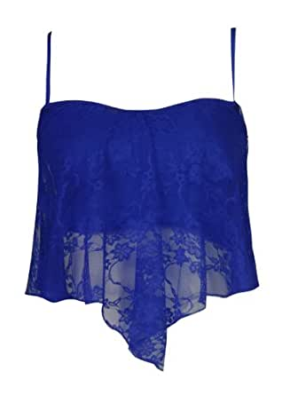 Womens Floral Lace Frill Style Bra Bralet Top (M/L (UK 12-14), Royal Blue)