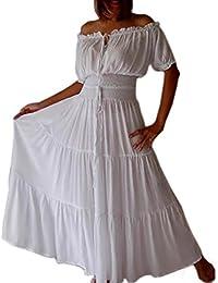 LOTUSTRADERS Damen Boho Kleid Weiß