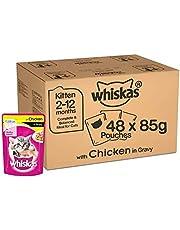 Whiskas Super Saver Pack, Kitten Wet Cat Food (2-12 months), Chicken in Gravy 4.08 kg (85g x 48 Pouches)