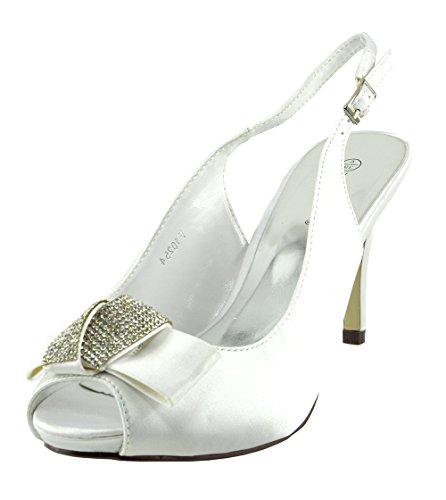 Kick Footwear - Donna Ladies da sposa tacco basso scarpe peep toe scarpe festa Bianco
