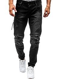 Clocore Men's Ripped Knee Destroyed Side Zipper Denim Biker Jeans Jogger Trouser