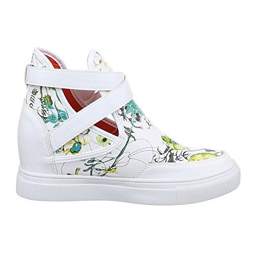 High-Top Sneaker Damen Schuhe High-Top Keilabsatz/ Wedge Sneakers Schnalle Ital-Design Freizeitschuhe Blau Multi