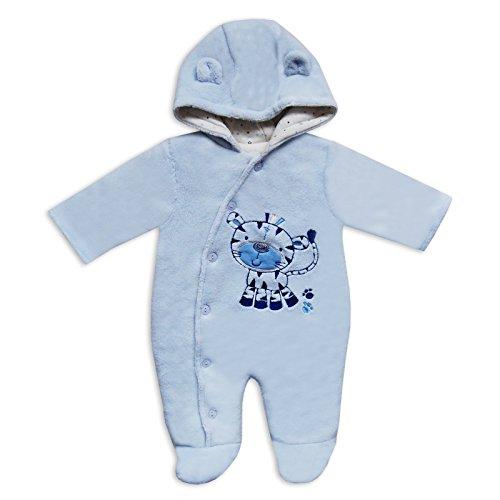 Bambino Blu Pelliccia Sintetica Velluto Inverno Baby Giraffa design Snowsuit