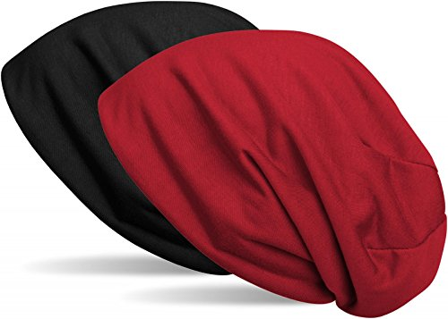 styleBREAKER Beanie Wendemütze in Unifarben, Slouch Mütze, leicht und weich, Longbeanie, Unisex 04024115, Farbe:Schwarz/Bordeaux-Rot