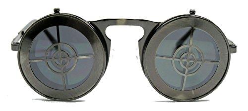 Retro Sonnenbrille Industrial Steampunk Style Flip up Modell klappbar HT (Sniper Gunmetal)