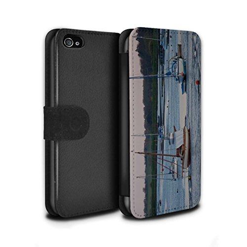 Stuff4 Coque/Etui/Housse Cuir PU Case/Cover pour Apple iPhone 4/4S / Bateau Ancré Design / Côte de la Colombie Collection Voilier