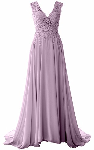 MACloth Elegant V Neck Long Prom Dress Vintage Lace Chiffon Formal Evening Gown Wisteria