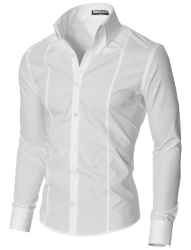 MODERNO Super Slim Fit Business Herren Hemd Weiss (MSSF501) EU M