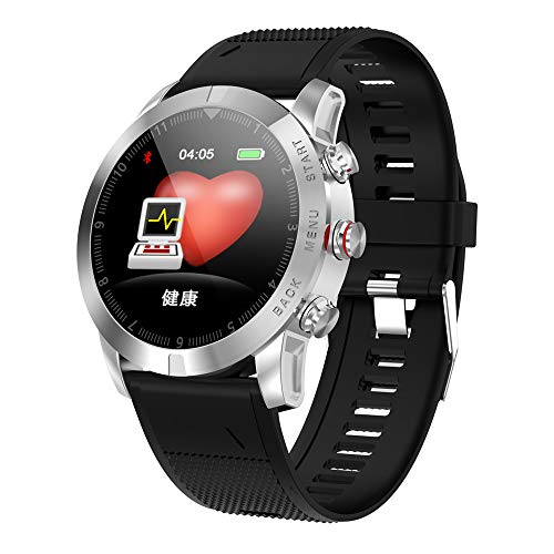TechCode  Blutdruckmessgerät, Fitness-Tracker, Herzfrequenz-Monitor, Schrittzähler mit wasserfestem Armband, Kalorien- und Schrittzähler für Android iOS Smartphones Schwarz (GJ-Silber)