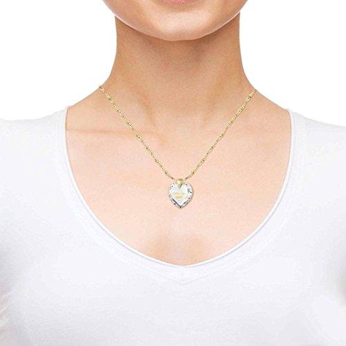 Pendentif Coeur - Bijoux Romantique Plaqué Or avec I Love You et le symbole de l'infini inscrits à l'Or 24ct sur un Zircon Cubique en Forme de Coeur, Chaine en Or Laminé de 45cm - Bijoux Nano Transparent