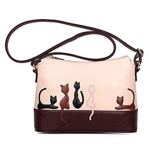 Ularmo Frauen Mädchen Katze Kaninchen Muster Kunstleder Schultertasche Crossbody Handtasche (Katze)