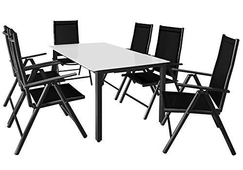 Casaria Sitzgruppe Bern 6+1 | Aluminium | 7-Fach verstellbare Hochlehner | Milchglas Tisch | Anthrazit - Gartenmöbel Set