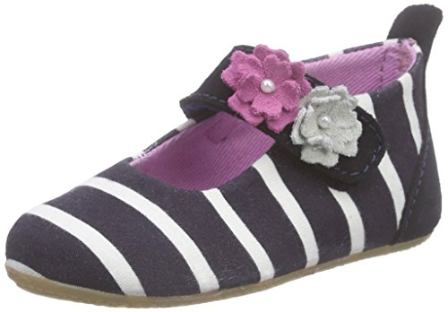 Living Kitzbühel Baby Mädchen Ball Streifen Weiß mit Blumen Sandalen Blau (nachtblau 590)