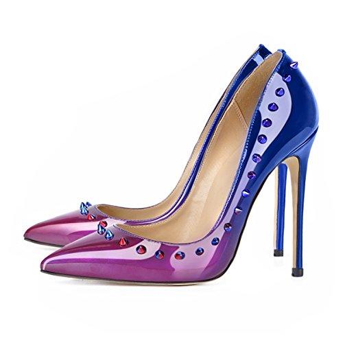 uBeauty Damen High Heels Pumps mit Nieten Übergröße Klassische Damenschuhe Mehrfarbig
