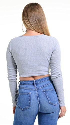S&M Top à manches longues - Femme Gris
