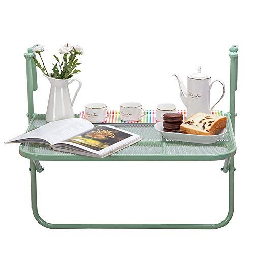 fenstergelaender Faltreifen Tabelle Metallklapptisch Für Balkon, Handlauf-hängender Tisch, Grünes Fenster-Geländer An Der Wand Befestigte Faltbare Tabelle
