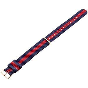 Daniel Wellington Moterims Uhren-Armband Classic Oxford Natostrap blau rot Schliesse roségold DW00200029