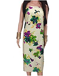 Kurti Material Blouse Fabric Pure Cotton, cream base, big floral print in green