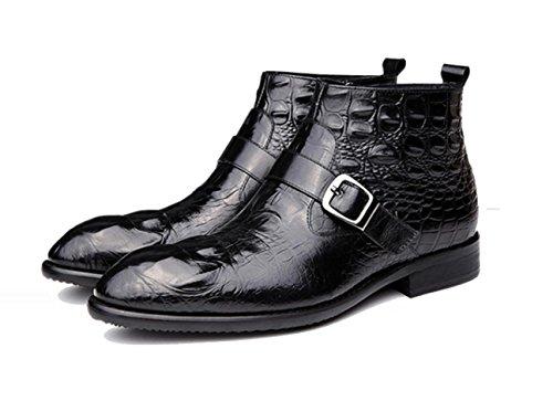 WZG Herrenschuhe in Europa und Amerika wirklich Pima Ding Stiefel koreanische Version von Casual Schuhe Mode Schuhe gepr盲gtem Leder Stiefel Stiefel spitz Black