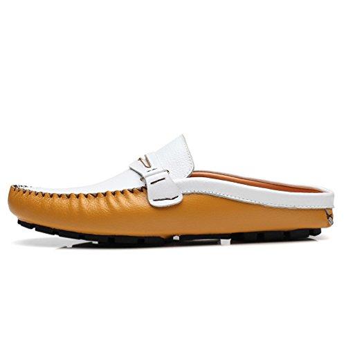 AFFINEST Herren Leder Slipper Slip-on Lässige Loafer Fahren Bootsschuhe Schuhe Flache Mokassins Gelb/Weiß