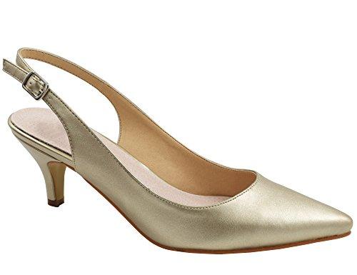 Greatonu Zapatos de Tacón Dorados de Modas Cómodos de Citas y Fiestas Para Mujer Tamaño 39 EU