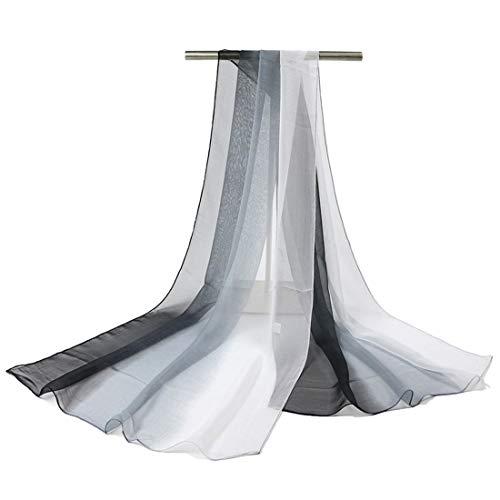 GWELL Damenschal Farbverlauf Georgette Sommer Schals Tücher Damen Strandtuch Halstuch weiß schwarz
