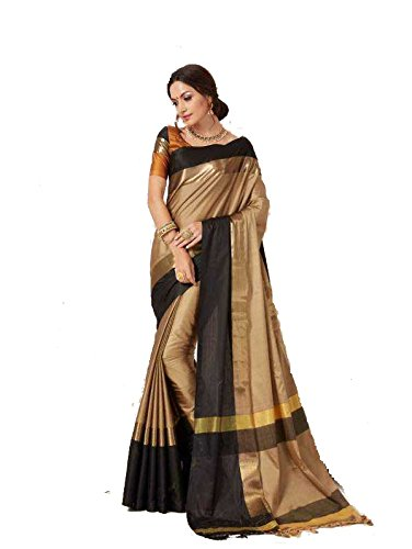 Perfectblue Women's cotton Silk Saree With Blouse Piece (ChikuBlackVisva)