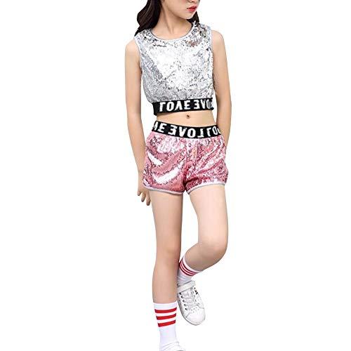 Daytwork Mädchen Hip Hop Dancewear Pailletten - Kinder Erwachsene Tanzen Modern Kostüme Pailletten Anzüge Sets Weste + Shorts Mantel Tanzbekleidung