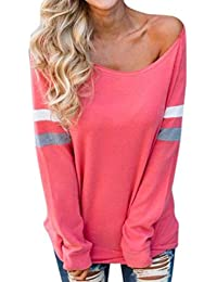 VJGOAL Moda Casual para Mujer o Cuello Imprimir Ladies Manga Larga Empalme Blusa Sexy Tops Ropa Camiseta Blusa