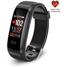 seegar Fitness Armband mit Herzfrequenz Schrittzähler Uhr, wasserdicht Activity Tracker, Bluetooth Schrittzähler und Schlaf Monitor Kalorienzähler Uhr, schlank Smart Armband für Kinder Frauen Männer