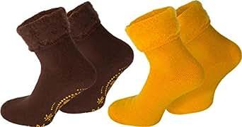 2 Paar Kuschelsocken / Bettsocken / Socken Stripe geringelt mit Elasthan Farbe Dream/Braun/Gelb Größe 35/38