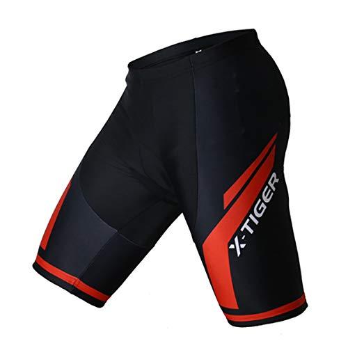 X-TIGER Hombres de Bicicleta Maillots con 5D Gel Acolchado MTB Ciclismo Pantalones Cortos (Red, Medium)