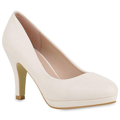 Damen Pumps Plateaupumps Stiletto High Heels Velours Peeptoes Leder-Optik Plateau Vorne Party Schuhe 140985 Creme Avion 40 Flandell
