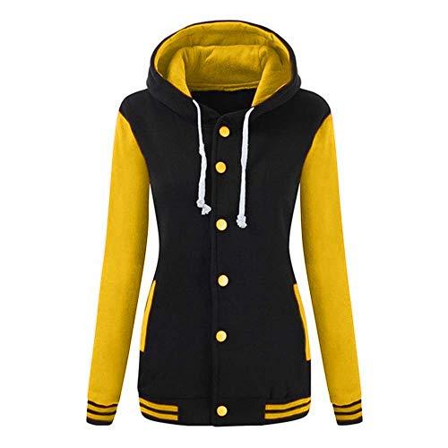KIMODO Pullover Damen, Herbst Winter Lang Warmer Sport Sweatshirt Kapuzenpullover Kapuzenjacke Hoodie Bluse (Gelb, M) -