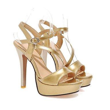 LvYuan Damen-Sandalen-Hochzeit Party & Festivität Kleid-PU-Stöckelabsatz-Club-Schuhe-Schwarz Rot Weiß Silber Gold Black