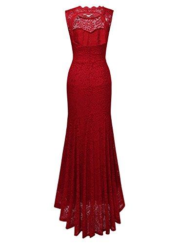 MIUSOL Robe de Soirée Dentelle Cocktail Longue Pour Mariage Femme,Fleur Robe de Fete Col Rond Femme Vintage Retro Sans Manches Rouge