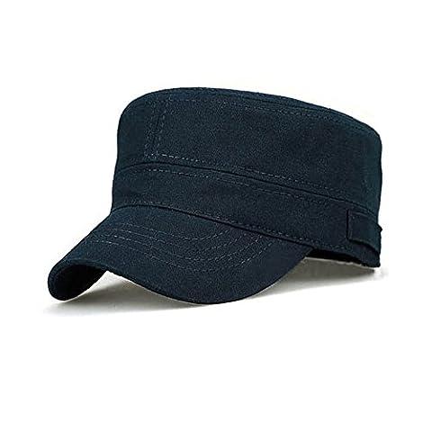 Ambysun Cotton Flat Top Peaked Baseball Twill Army Millitary Corps Hat Cap Visor (Navy)