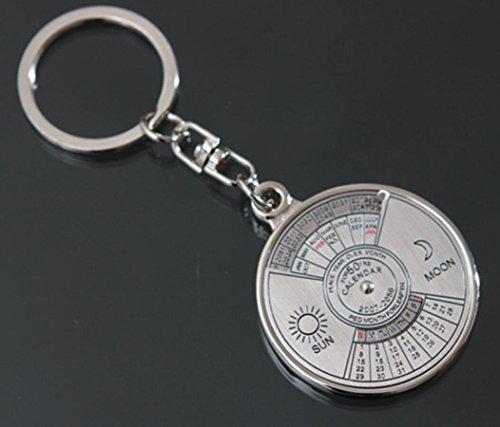 Hycy 1 Stücke 50 Jahre Kalender Schlüsselanhänger Mini Metall Ring Kompass Schlüsselanhänger Keyfob Wandern Camping Outdoor Sport Überleben Werkzeuge (1 Messuhr)