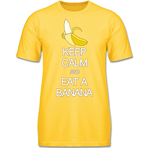 up to Date Kind - Keep Calm and Eat a Banana - 128 (7-8 Jahre) - Gelb - F140K - Jungen T-Shirt