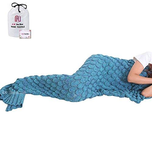 Meerjungfrau Decke, AM Seablue Handgemachte häkeln meerjungfrau flosse decke für Erwachsene, Mermaid Blanket alle Jahreszeiten Schlafsack Für Erwachsene - Häkeln Decken