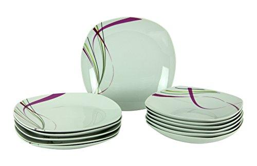 Tafelservice Fashion 12tlg. leicht eckig Porzellan für 6 Personen weiß mit Liniendekor