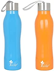 Tuelip Combo Sports Stainless Steel Water Bottle for School Kids Girls & Boys,College,Gym,Sports 750 ML (Blue, Orange) Set of 2