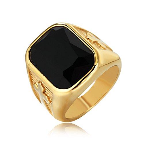 Taizhiwei anillo circones negro titanio acero inoxidable anillos talla piedra cruz personalizado retro dorado hombre