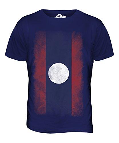 CandyMix Laos Verblichen Flagge Herren T Shirt Navy Blau