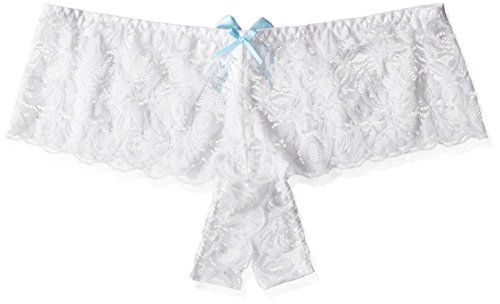 Dreamgirl Women's Open For Business Open Crotch Cheeky Boyshort Panty, White, Small (Cheeky Boyshorts)