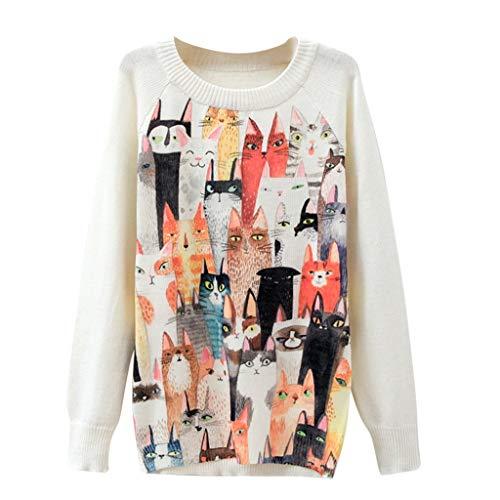 Lucky Mall Damen Sweatshirt Loose Tops Farbblock Langarm Herbst Tunik, Frauen Mode Winter Katzen Druck Lange Sweatshirts - Lucky-jersey Sweatshirt