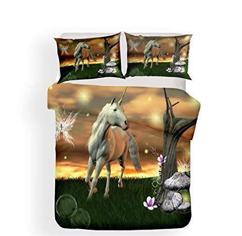 Stillshine Bettwäsche-Set Bettbezug Galaxy 3D Einhorn Weiß Pferd Fantasiewald Farbe Drucken Leichtgewicht Polyester Weich Atmungsaktiv Junge Mädchen Reißverschluss (Einhorn 2,200x200 cm) - Home Visions-set Bett