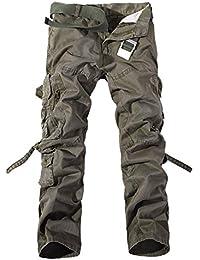 70a307f99943 Kuson Hommes Pantalons 100% Coton Cargo Sport Multi-Poches Epais Outdoor  Lâche sans Ceinture